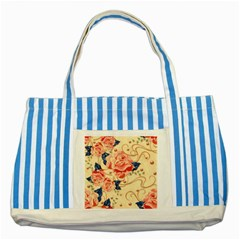 Beautiful Pink Roses  Striped Blue Tote Bag by Brittlevirginclothing