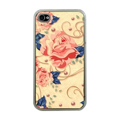 Beautiful Pink Roses Apple Iphone 4 Case (clear) by Brittlevirginclothing