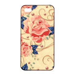 Beautiful Pink Roses Apple Iphone 4/4s Seamless Case (black) by Brittlevirginclothing