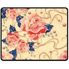 Beautiful Pink Roses Fleece Blanket (medium)  by Brittlevirginclothing