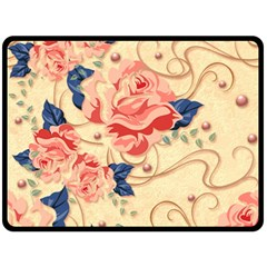 Beautiful Pink Roses Double Sided Fleece Blanket (large)  by Brittlevirginclothing