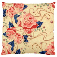Beautiful Pink Roses Large Flano Cushion Case (two Sides) by Brittlevirginclothing