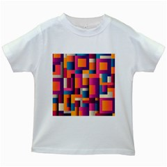 Abstract Background Geometry Blocks Kids White T Shirts