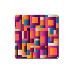 Abstract Background Geometry Blocks Square Magnet by Amaryn4rt