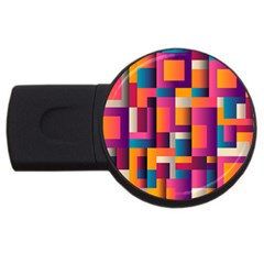 Abstract Background Geometry Blocks Usb Flash Drive Round (2 Gb)  by Amaryn4rt