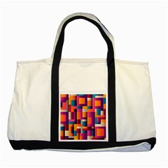 Abstract Background Geometry Blocks Two Tone Tote Bag