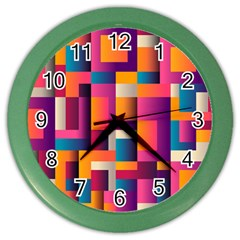 Abstract Background Geometry Blocks Color Wall Clocks