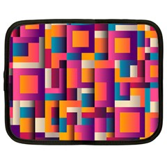 Abstract Background Geometry Blocks Netbook Case (large)