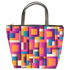 Abstract Background Geometry Blocks Bucket Bags by Amaryn4rt