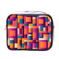 Abstract Background Geometry Blocks Mini Toiletries Bags by Amaryn4rt