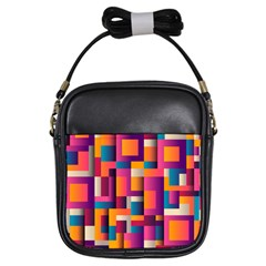 Abstract Background Geometry Blocks Girls Sling Bags by Amaryn4rt