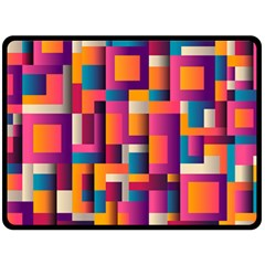 Abstract Background Geometry Blocks Fleece Blanket (large)  by Amaryn4rt