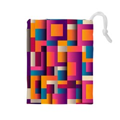 Abstract Background Geometry Blocks Drawstring Pouches (large)  by Amaryn4rt