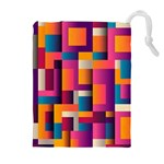 Abstract Background Geometry Blocks Drawstring Pouches (Extra Large) Front