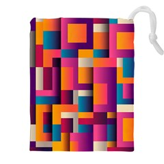 Abstract Background Geometry Blocks Drawstring Pouches (xxl) by Amaryn4rt