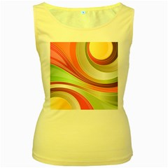 Abstract Colorful Background Wavy Women s Yellow Tank Top