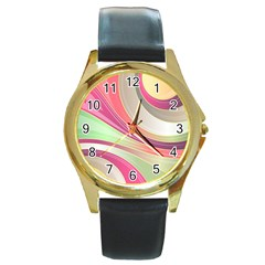 Abstract Colorful Background Wavy Round Gold Metal Watch by Amaryn4rt