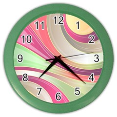 Abstract Colorful Background Wavy Color Wall Clocks by Amaryn4rt