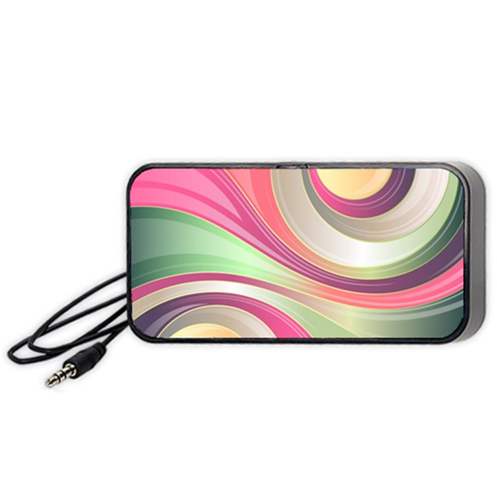 Abstract Colorful Background Wavy Portable Speaker (Black)