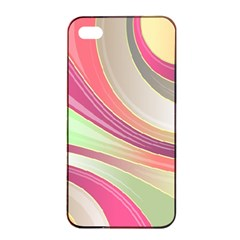 Abstract Colorful Background Wavy Apple Iphone 4/4s Seamless Case (black)