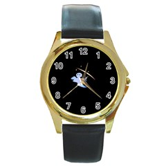 Ghost Night Night Sky Small Sweet Round Gold Metal Watch