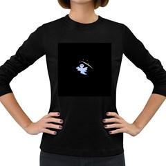 Ghost Night Night Sky Small Sweet Women s Long Sleeve Dark T Shirts