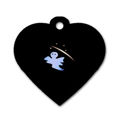 Ghost Night Night Sky Small Sweet Dog Tag Heart (one Side)