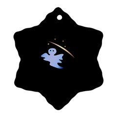 Ghost Night Night Sky Small Sweet Snowflake Ornament (2 Side)