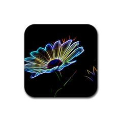 Flower Pattern Design Abstract Background Rubber Square Coaster (4 Pack)  by Amaryn4rt