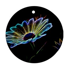 Flower Pattern Design Abstract Background Round Ornament (two Sides)