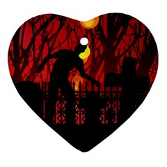Horror Zombie Ghosts Creepy Ornament (heart)  by Amaryn4rt