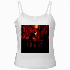 Horror Zombie Ghosts Creepy White Spaghetti Tank by Amaryn4rt