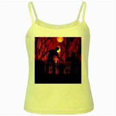 Horror Zombie Ghosts Creepy Yellow Spaghetti Tank