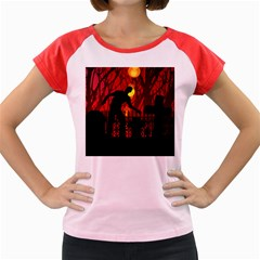 Horror Zombie Ghosts Creepy Women s Cap Sleeve T Shirt by Amaryn4rt