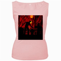 Horror Zombie Ghosts Creepy Women s Pink Tank Top by Amaryn4rt