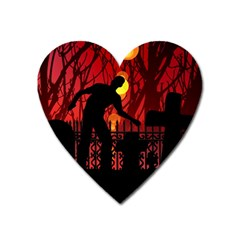Horror Zombie Ghosts Creepy Heart Magnet