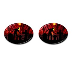 Horror Zombie Ghosts Creepy Cufflinks (oval) by Amaryn4rt