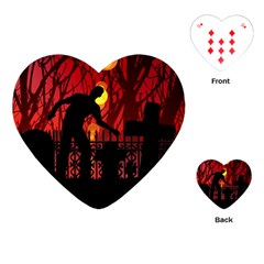 Horror Zombie Ghosts Creepy Playing Cards (heart)  by Amaryn4rt