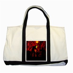 Horror Zombie Ghosts Creepy Two Tone Tote Bag by Amaryn4rt