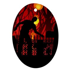 Horror Zombie Ghosts Creepy Oval Ornament (two Sides) by Amaryn4rt