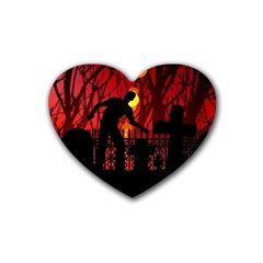 Horror Zombie Ghosts Creepy Rubber Coaster (heart)  by Amaryn4rt