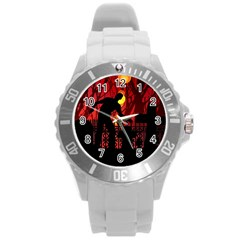 Horror Zombie Ghosts Creepy Round Plastic Sport Watch (l) by Amaryn4rt