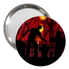 Horror Zombie Ghosts Creepy 3  Handbag Mirrors by Amaryn4rt