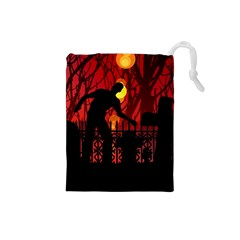 Horror Zombie Ghosts Creepy Drawstring Pouches (small)  by Amaryn4rt