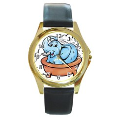 Elephant Bad Shower Round Gold Metal Watch
