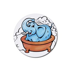Elephant Bad Shower Rubber Coaster (round)