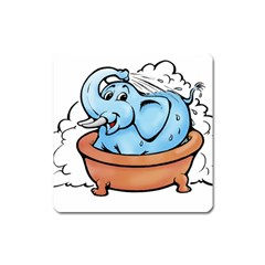 Elephant Bad Shower Square Magnet