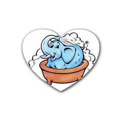 Elephant Bad Shower Heart Coaster (4 pack)  by Amaryn4rt