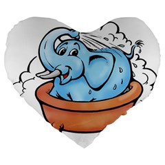 Elephant Bad Shower Large 19  Premium Heart Shape Cushions