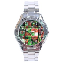 Paper Background Color Graphics Stainless Steel Analogue Watch
